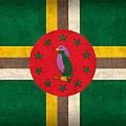 Dominica Flag Vintage Distressed Finish Art Print