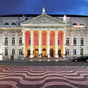 Dona Maria II National Theater At Night In Lisbon Art Print