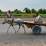 Donkey Cart Driver And Motorcycle On Pakistan Highway Art Print