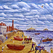 Donkey Rides On Blackpool Beach Art Print