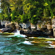 Door County Cave Point Cliffs Art Print
