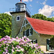 Door County Eagle Bluff Lighthouse Lilacs Art Print by Christopher Arndt