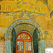 Doorway Entry To Cathedral Of The Archangel Inside Kremlin Walls In Moscow-russia Art Print