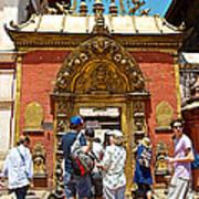 Doorway In Bhaktapur Durbar Square In Bhaktapur-nepal Art Print