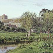 Dorchester Abbey, Near Wallingford, Autumn Evening Art Print