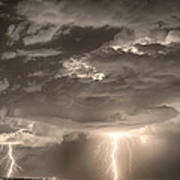 Double Lightning Strikes In Sepia Hdr Art Print by James BO  Insogna