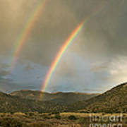 Double Rainbow In Desert Art Print