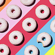 Doughnuts On Colourful Background Art Print