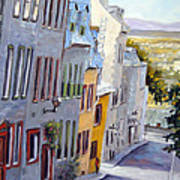 Down The Hill Old Quebec City Art Print