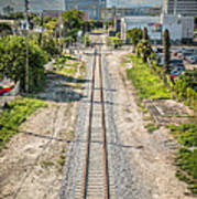 Down The Tracks - Downtown Miami Art Print by Ian Monk