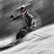 Downhill Skier  Art Print by Dan Friend