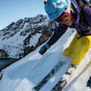 Downhill Skiier In Portillo, Chile Art Print