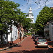 Downtown Annapolis With Maryland State House Cupola Art Print