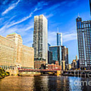 Downtown Chicago At Franklin Street Bridge Picture Art Print by Paul Velgos