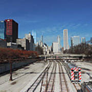 Downtown Chicago With Train Tracks Art Print