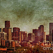 Downtown Denver Antiqued Postcard Art Print