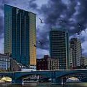 Downtown Grand Rapids Michigan By The Grand River With Gulls Art Print