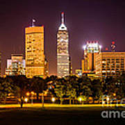 Downtown Indianapolis Skyline At Night Picture Art Print
