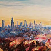 Downtown Los Angeles At Dusk Art Print