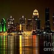 Downtown Louisville Kentucky Skyline Night Shot Art Print