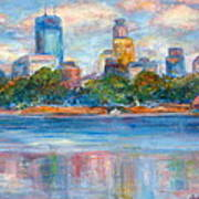 Downtown Minneapolis Skyline From Lake Calhoun II - Or Commission Your City Painting Art Print