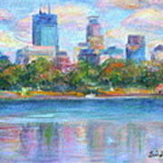 Downtown Minneapolis Skyline From Lake Calhoun Art Print by Quin Sweetman