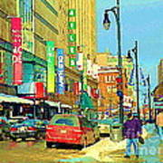 Downtown Montreal Eatons Centre Complex Les Ailes Old Navy Rue Mcgill College City Scenes  C Spandau Art Print