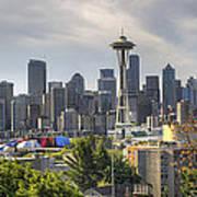 Downtown Seattle Skyline With Mount Rainier Art Print