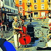 Downtown Street Musicians Perform At The Coffee Shop With Cool Tones On A Hot Summer Day Art Print