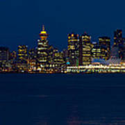 Downtown Vancouver At Night  Art Print
