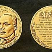 Dr Martin Luther King Jr And Coretta Scott King Bronze Medal Art Art Print