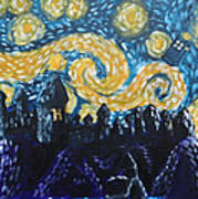 Dr Who Hogwarts Starry Night Print by Jera Sky