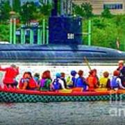 Dragon Boat Challenges Submarine  Art Print