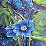 Dragonfly Hunt For Food In The Flowerhead Art Print