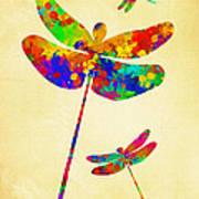 Dragonfly Watercolor Art Art Print