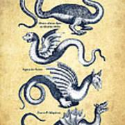 Dragons - Historiae Naturalis  - 1657 - Vintage Art Print