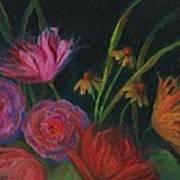 Dramatic Floral Still Life Painting Art Print