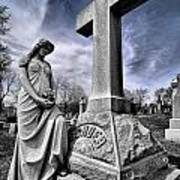 Dramatic Gravestone With Cross And Guardian Angel Art Print