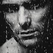Dramatic Portrait Of Man Wet Face Black And White Art Print