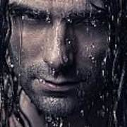 Dramatic Portrait Of Man Wet Face With Long Hair Art Print by Oleksiy Maksymenko