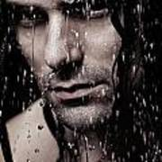 Dramatic Portrait Of Young Man Wet Face With Long Hair Art Print
