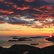 Dramatic Sunset Over Dubrovnik Croatia Art Print