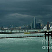 Dramatic Thunderstorm Over Navy Pier Chicago Art Print