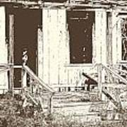 Drawing Of An Old House With Porch In Brown 3000.04 Art Print