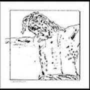 Drawing Of Christ On The Cross Art Print