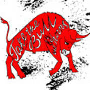 Drawing Red Angry Bull On The Grunge Art Print