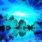 Dream Blue Landscape With Kaleidoscopic Blue Sun Art Print
