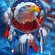 Dream Catcher - Eagle Red White Blue Art Print by Carol Cavalaris