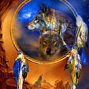 Dream Catcher - Wolf Dreams Art Print