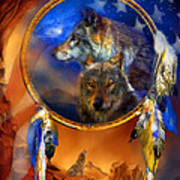Dream Catcher - Wolf Dreams Patriotic Art Print